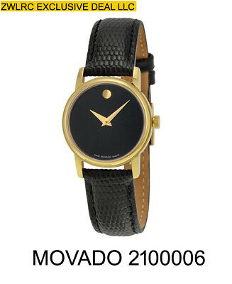 BOX SET MOVADO Museum 2100006 Gold Classic Black Leather Wrist Women's Watch