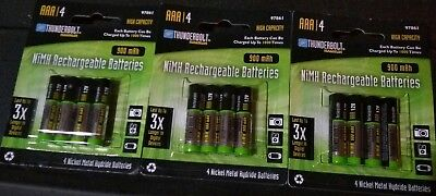Thunderbolt Magnum AAA - 900mAh High Capacity NiMH Rechargeable Batteries 12 Pk