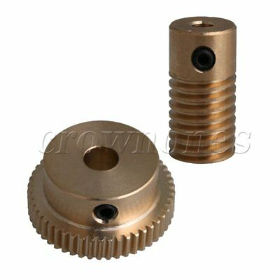 Brass 3.17mm Worm Gear Wheel Shaft 20mm Height + 50T Wheel 0.5 Modulus