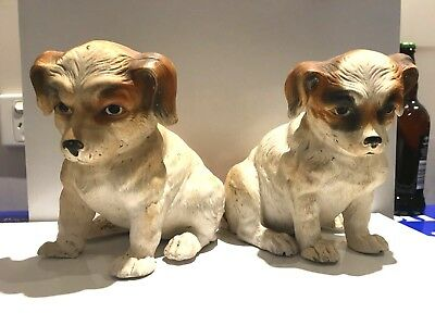 Antique Dog Statues  Set of 2 Dogs