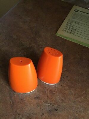 Vintage Collectable Retro Orange Salt And Pepper Shakers