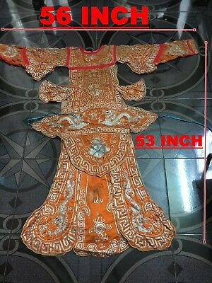 Antique Chinese Hand Embroidered Robe & Testiles