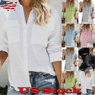 Womens Cotton Linen Long Sleeve Tops Lady Button Down Casual Blouse Shirt S-2XL