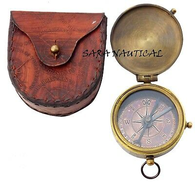 Nautical Vintage Antique Brass Compass with Leather Case Collectibles