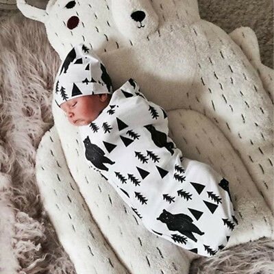 Newborn Baby Girl Boy Swaddle Wrap Blanket Muslin 100% Cotton Sleeping Bag &Hat