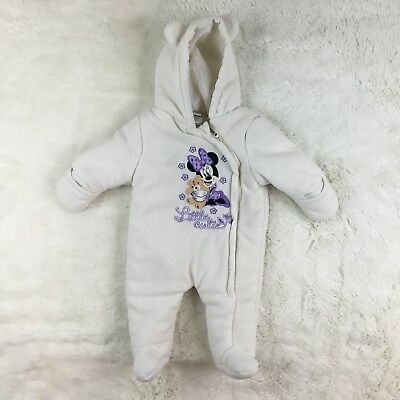 Disney Baby Girl Purple Minnie Mouse Fleece Snowsuit Bunting One Piece Size 0-3M