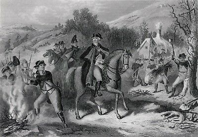 George Washington WINTER CAMP AT VALLEY FORGE '82 engraving Barlett pinx Payne s