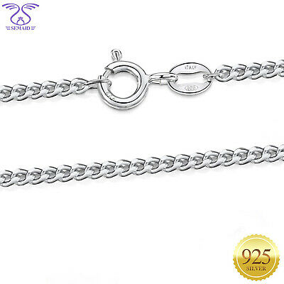 "1.5mm 925 Sterling Silver Thick Italian Curb Chain Necklace 16""18""20""22""24"" INCH"