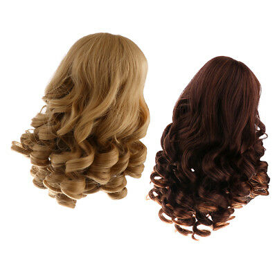 Wavy Wig Hair Fit for 18'' American Girl DIY Making Supplies Khaki & Brown