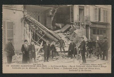 e1975)     WW1 ERA POSTCARD THE CRIME OF REIMS, TALLEYRANS ST BOMBED BY GERMANS