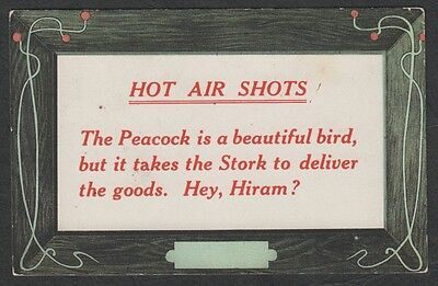 e144) USA HOT AIR SHOTS COMIC POSTCARD FROM 1909:THE PEACOCK IS A BEAUTIFUL BIRD