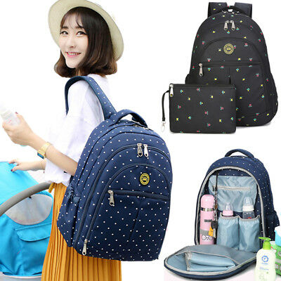 Large Mummy Rucksack Baby Diaper Nappy Multi Changing Bag Polka Dots Backpack UK