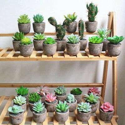 Artificial Retro Succulents Plant with Pot Garden Mini Fake Ornament Home Decor
