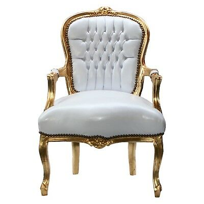 Accent Chair BONI - white synthetic leather and golden frame