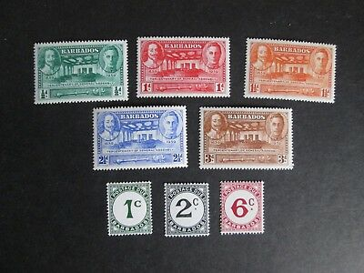 Barbados 1939 onwards Tercentenary and Postage Dues Mint Lightly Hinged