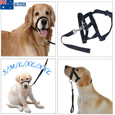 AU Dogalter Dog Halter Halti Training Head Collar Gentle Leader Harness Black T