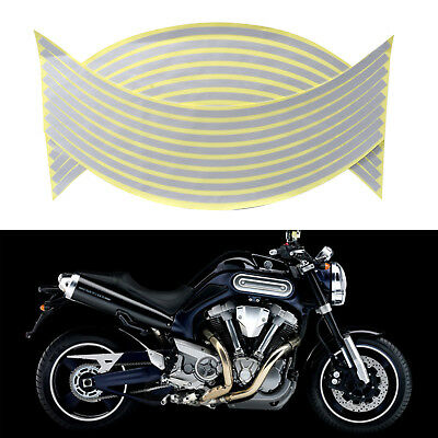 "Silver Reflective Motorcycle Car 18"" Rim Stripe Wheel Tape Decal Stickers"
