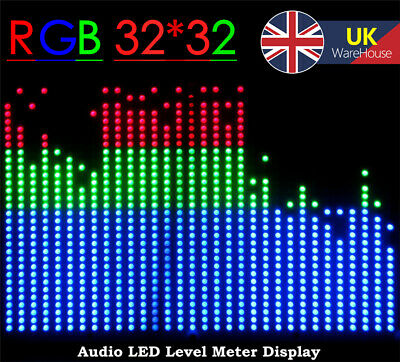 32*32 RGB LED Display Music Audio Spectrum Analyzer KTV Sound Level VU Meter Kit