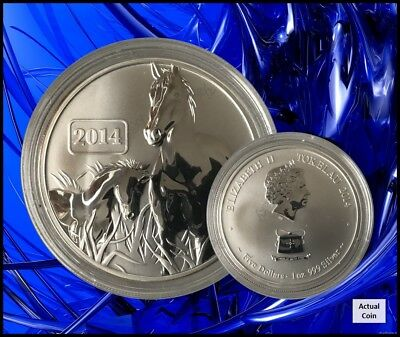 2014 Tokelau $5 Year Of The Horse 1oz Silver Reverse Proof Coin
