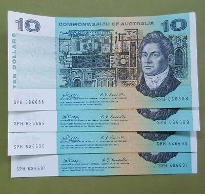 1972 Ten Dollar Sequence Commonwealth of Australian notes X Four aUnc.
