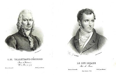 6 x French Gentlemen - Engravings  & Lithographs by Various Artists 1825-1850