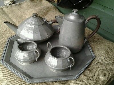 Vintage Arts & Crafts Style Old English Hand Hammered Pewter Tea Coffee Set