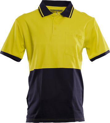 Workhorse HI-VIS POLO SHIRT MSH066 Short Sleeve YELLOW/NAVY- Size S, M, L Or XL