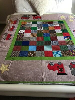 """Handmade Patchwork Quilts """"animal Trains"""" Size 57"""" X 61"""" With Appliqué"""