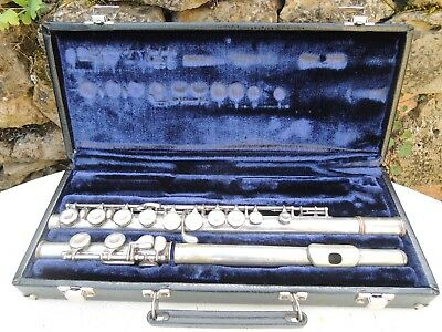 Vintage Student Flute Italy GRASSY Milano w Hard Case Closed Holes as pictured