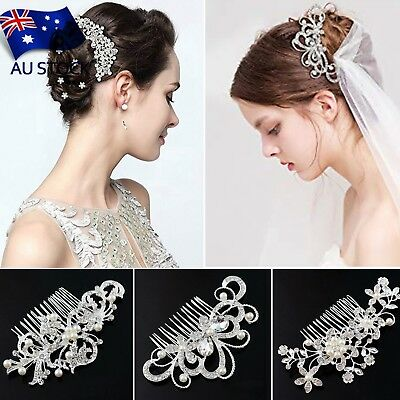AU-STOCK Bridal Hair Comb Wedding Hair Side Pins Headpiece Crystal Pearls Flower