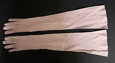 French Vintage Antique Pink Suede Long Ladies Opera Gloves