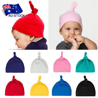 AU-STOCK Newborn Baby Beanie Hats Soft Knotted Infant Cap Beanies Hospital Hats