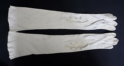 French Vintage Antique off White Kid Leather Long Ladies Opera Gloves