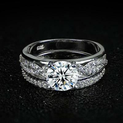 2ct Diamond Round Engagement Solitaire Wedding Ring Set 14k White Gold Over