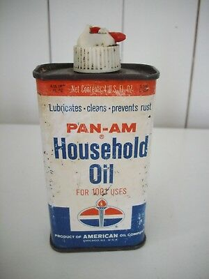 Rare Pan-Am Household Oil Can 4 ozs - American Oil Co - Amoco - Tin Can