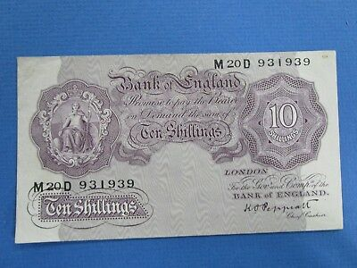 1940 K O Peppiatt : Ten Shillings, 2nd World War Emergency Issue, , Mauve  aUnc