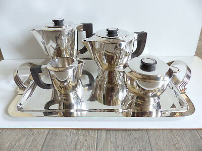 SUPERB & RARE CHRISTOFLE ART DECO SILVER PLATE TEA COFFEE SET 5 PIECES 1930's