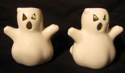 2 Ghost Tealight Votive Ceramic Candle Holders Halloween