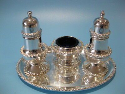 Beautiful Little Vintage Silver Plated Victorian Style Four Piece Cruet Set