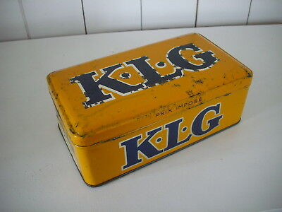 Rare Vintage KLG Spark Plugs Tin - nice - Auto Collectable Tin Can Box K.L.G.