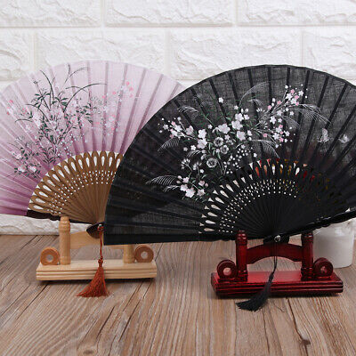 Vintage Wood Hand Fan Display Stand Holder Base Chinese Japanese Home Decor