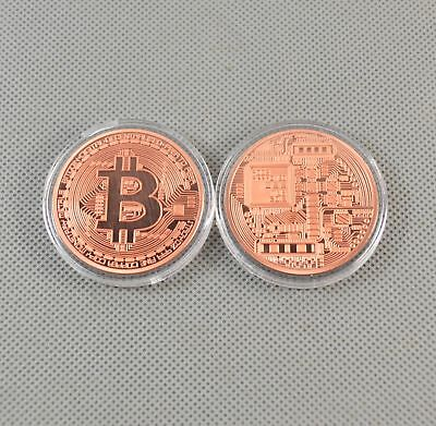 2PCS Solid Copper Commemorative Bitcoin Collectible Golden Iron Miner Coin XN08