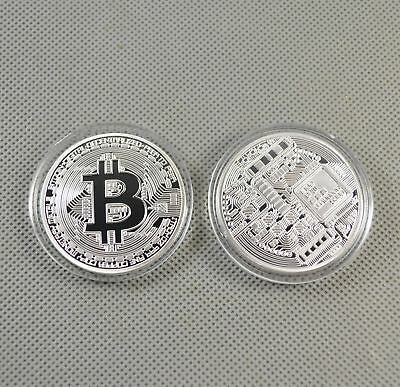 2PCS Silver Plated Commemorative Bitcoin Collectible Iron Miner Coin Gift XN07