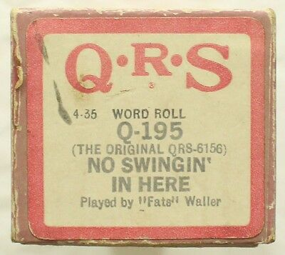 "THOMAS ""FATS"" WALLER ""No Swingin' In Here"" QRS Q-195 [PIANO ROLL]"