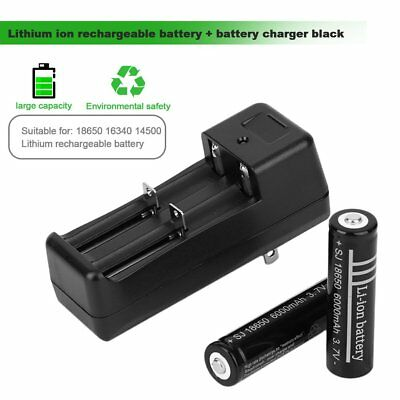 2pcs 18650 6000mAh 3.7V Li-ion Rechargeable Battery + Battery Chargers Black AU