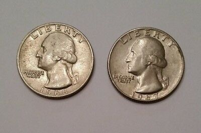1966 ,1967,  USA  Quarter Dollar ~Set of 2 ~ Very nice Collectable coins