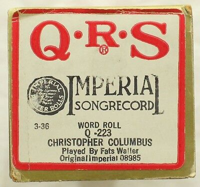 "THOMAS ""FATS"" WALLER ""Christopher Columbus"" QRS Q-223 [PIANO ROLL]"