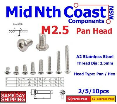 2/10pc M2.5 x 4-16mm Hex Socket Pan Head Screws/Bolts A2 Stainless Steel