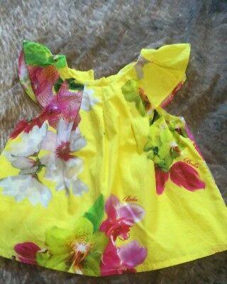 Ted Baker 3-6 Months Baby Girl Yellow Flower Summer Top Worn Twice