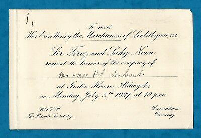 1937 Invitation From Indian High Commissioner To Meet Marchioness Of Linlithgow